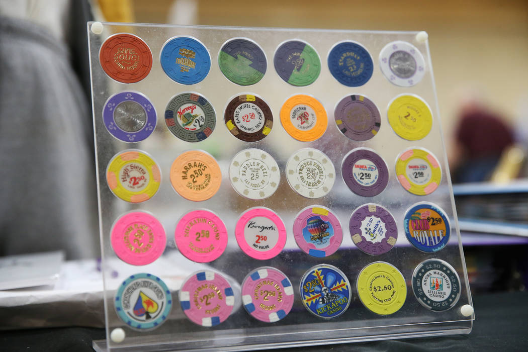 A chip collection owned by Peter Nathan of Las Vegas for sale during the Casino Chip & Gaming Token Collectors Club annual convention at the South Point casino-hotel in Las Vegas, Friday, June ...