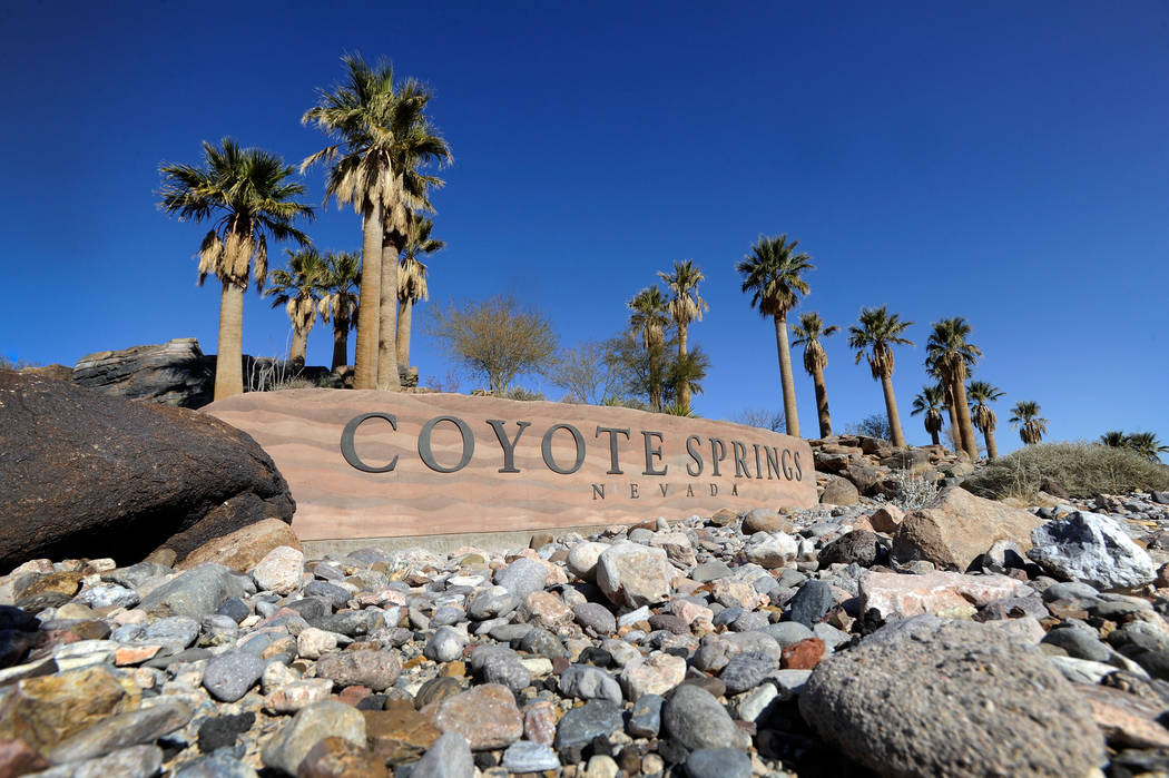 The Coyote Springs development entrance is seen near the intersection of U.S. 93 and State Route 168 in this 2013 file photo. (David Becker/Las Vegas Review-Journal)