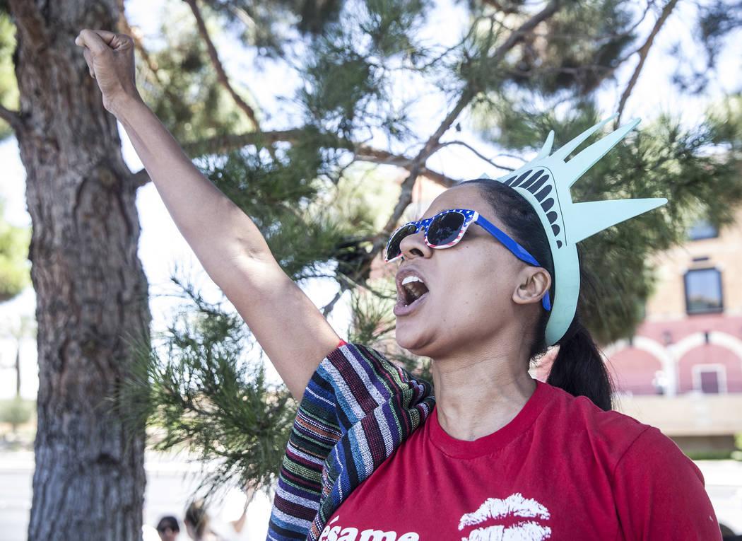 Lucinda Long protests outside Suncoast hotel-casino ahead of President Donald Trump's appearance on Saturday, June 23, 2018, in Las Vegas. Benjamin Hager Las Vegas Review-Journal @benjaminhphoto