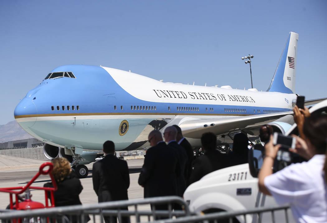 Air Force One arrives at McCarran International Airport in Las Vegas on Saturday, June 23, 2018. Chase Stevens Las Vegas Review-Journal @csstevensphoto