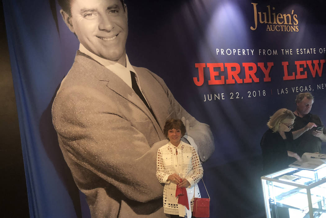 Sam Lewis is shown with and image of her late husband, entertainment legend Jerry Lewis, at Planet Hollywood on Thursday, June 21, 2018. (John Katsilometes/Las Vegas Review-Journal)