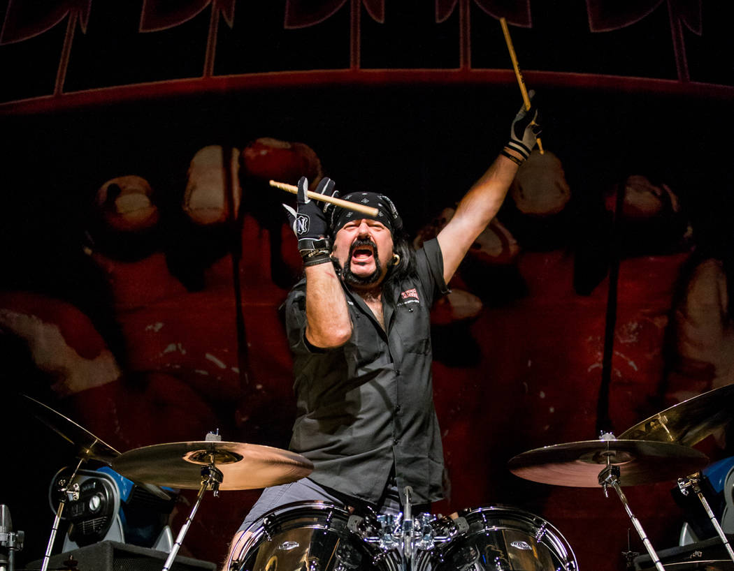 Vinnie Paul pictured as HELLYEAH performs at Brooklyn Bowl Las Vegas at The Linq in Las Vegas, NV on February 6, 2015. (Courtesy, Erik Kabik/Retna Ltd.)