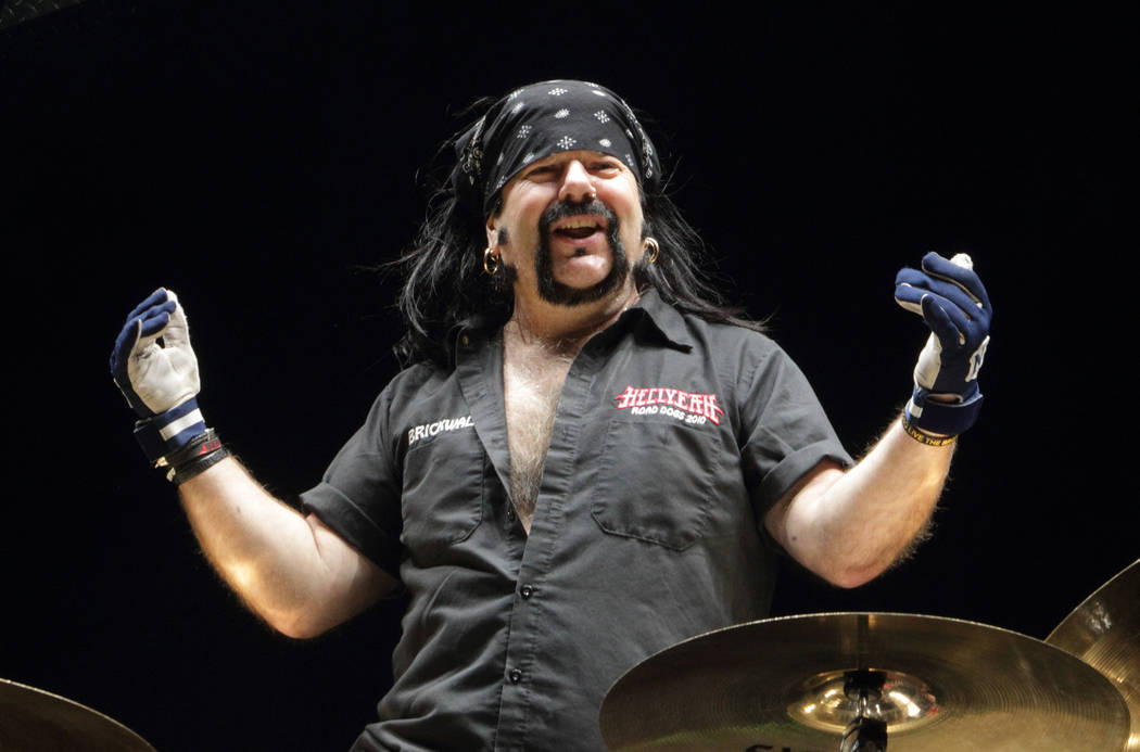 Vinnie Paul, formerly of the band Pantera, performs in concert with Hellyeah at the Giant Center on Thursday, May 8, 2014, in Hershey, Pa. (Photo by Owen Sweeney/Invision/AP)