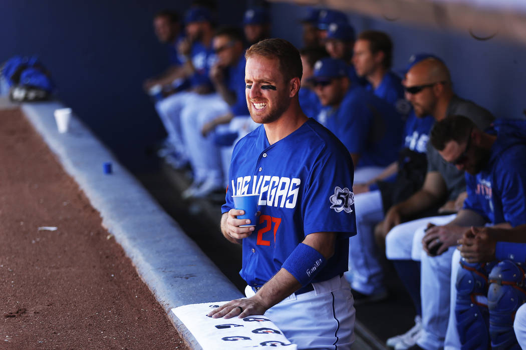 Las Vegas 51s left field Patrick Kivlehan (27) watches his team play against the Albuquerque Isotopes at Cashman Field in Las Vegas on Sunday, May 13, 2018. (Las Vegas Review-Journal)