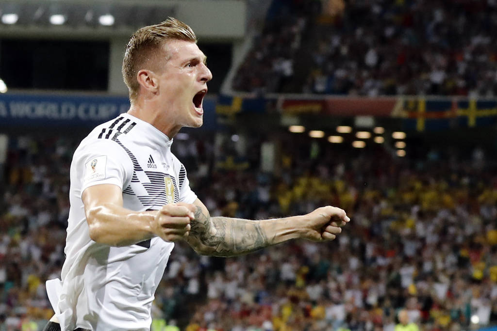 Germany's Toni Kroos celebrates after he scored his side's second goal during the group F match between Germany and Sweden at the 2018 soccer World Cup in the Fisht Stadium in Sochi, Russia, Satur ...