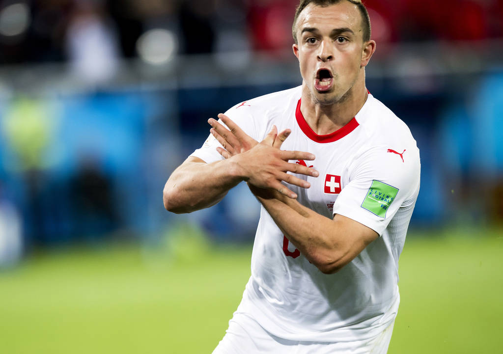 Switzerland's Xherdan Shaqiri celebrates after scoring his side's second goal during the group E match between Switzerland and Serbia at the 2018 soccer World Cup in the Kaliningrad Stadium in Kal ...