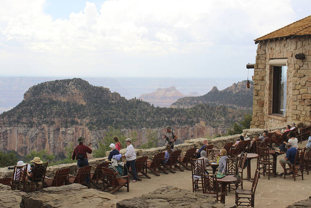 Visitors relax at the Grand Canyon Lodge on the North Rim. (Las Vegas Review-Journal)
