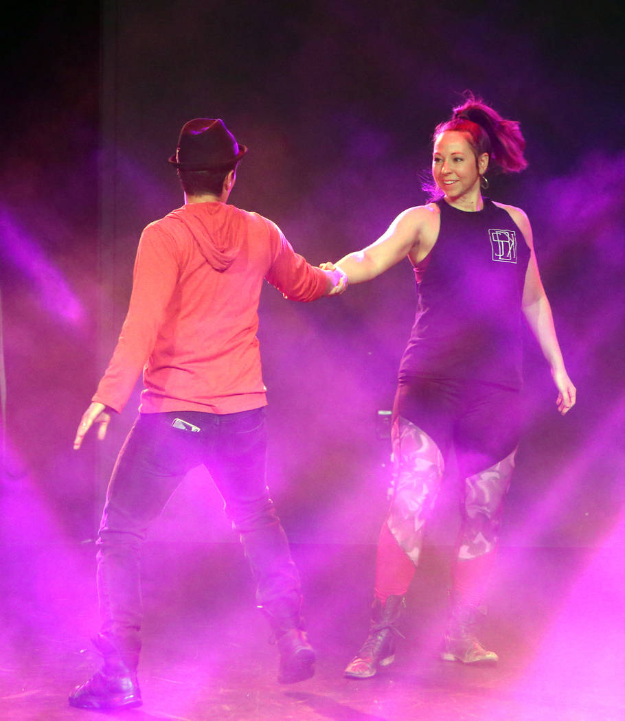 "Nicholas Foote, left, and Amanda Powell rehearse musical numbers for the annual Ribbon of Life benefit, ""The Show Must Go On"" at the Foundry, SLS Las Vegas on Friday, June 15, 2018. Bizu ..."