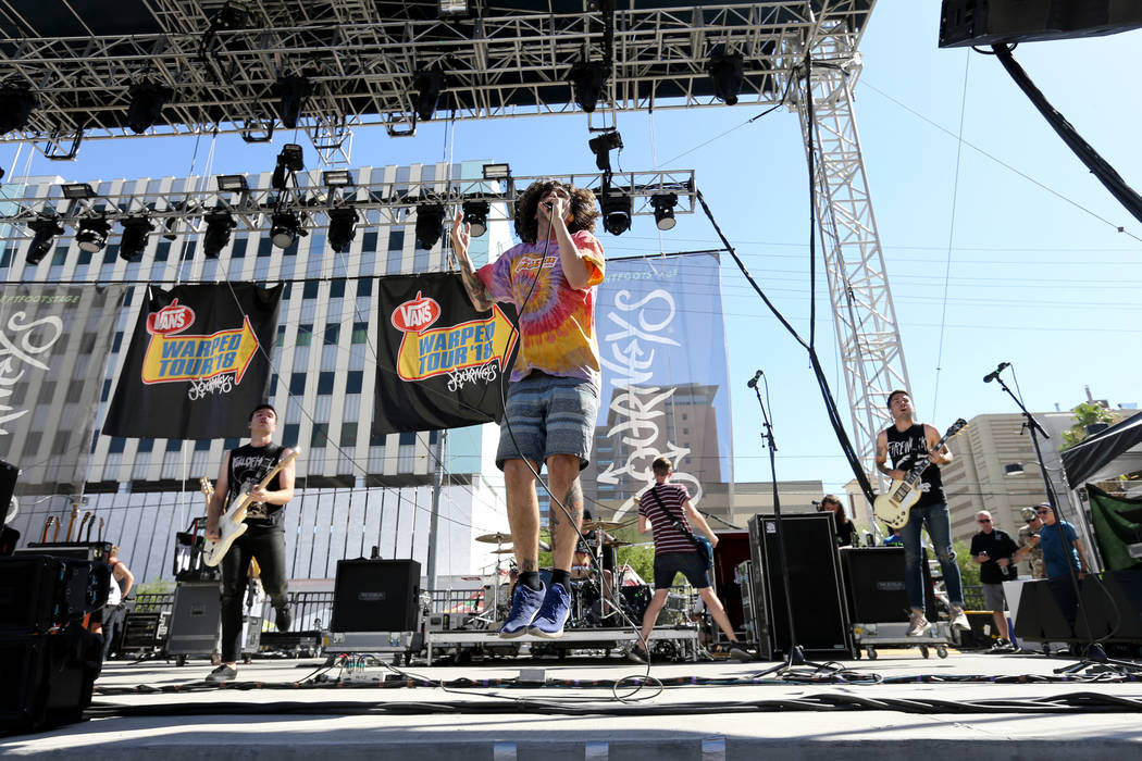 Real Friends performs during Warped Tour at Downtown Las Vegas Events Center on Friday, June 29, 2018. K.M. Cannon Las Vegas Review-Journal @KMCannonPhoto