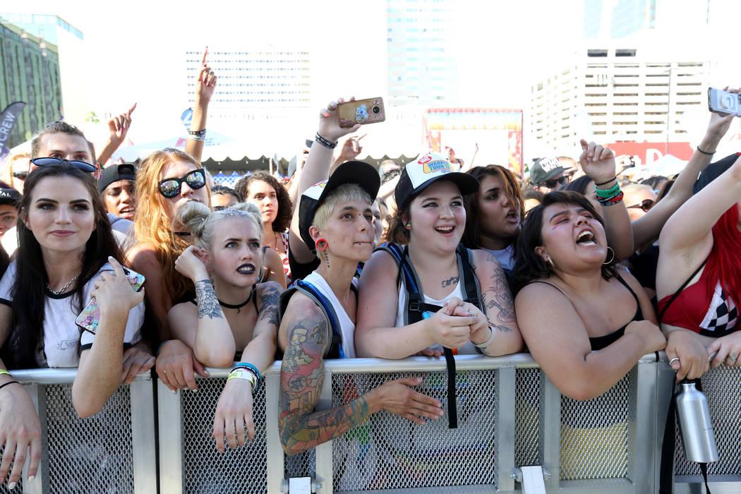 Fans watch Black Veil Brides perform during Warped Tour at Downtown Las Vegas Events Center on Friday, June 29, 2018. K.M. Cannon Las Vegas Review-Journal @KMCannonPhoto