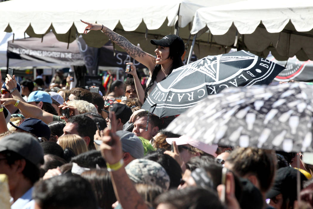 Fans cheer as Mayday Parade performs during Warped Tour at Downtown Las Vegas Events Center on Friday, June 29, 2018. K.M. Cannon Las Vegas Review-Journal @KMCannonPhoto