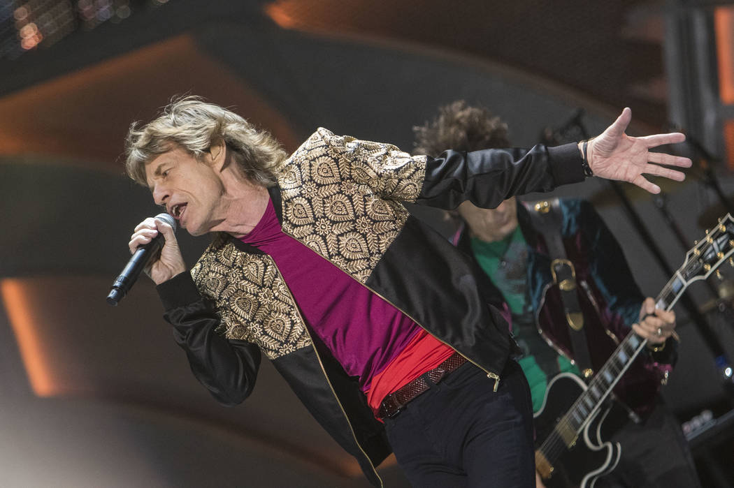 The Rolling Stones frontman Mick Jagger performs during the bands ZIP CODE tour at the T-Mobile Arena in Las Vegas on Saturday, Oct. 22, 2016. Richard Brian/Las Vegas Review-Journal Follow @vegasp ...