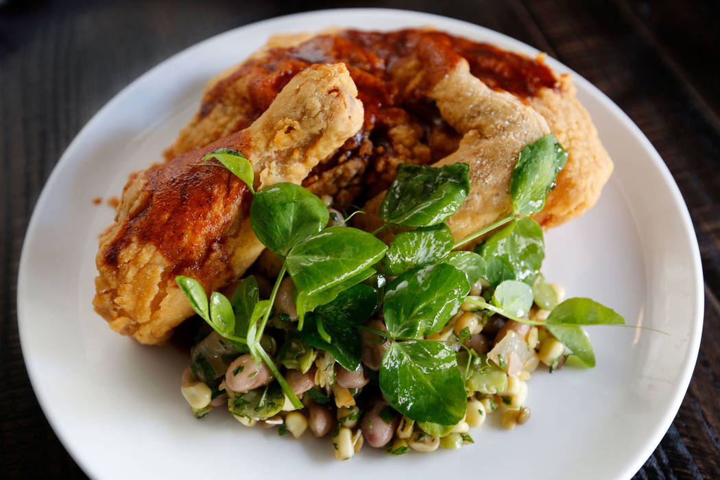Half-Chicken & Succotash is seen at The Kitchen at Atomic in Las Vegas, Wednesday, July 11, 2018. Chitose Suzuki Las Vegas Review-Journal @chitosephoto