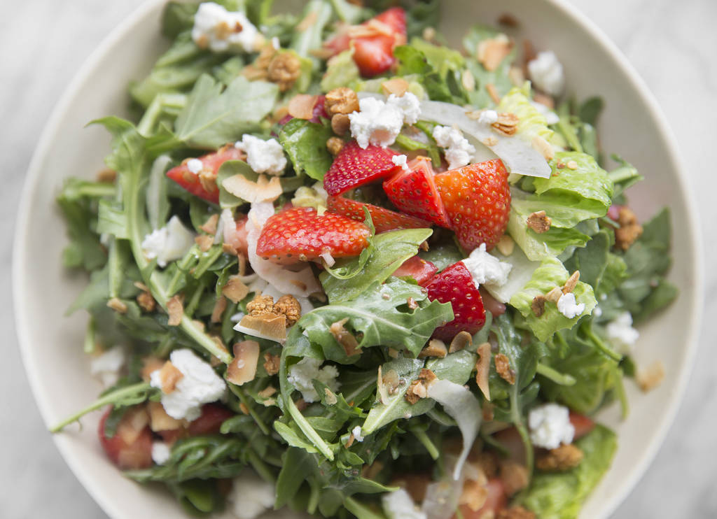 Strawberry fields with organic strawberry, wild arugula, shaved fennel, toasted oats, dried mulberry, goat cheese and chia seed vinaigrette at Flower Child on Friday, July 20, 2018, in Las Vegas. ...