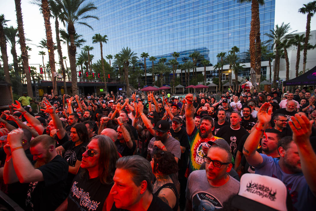 Fans cheer as Voivod performs at the pool stage during Psycho Las Vegas at the Hard Rock Hotel in Las Vegas on Saturday, Aug. 18, 2018. Chase Stevens Las Vegas Review-Journal @csstevensphoto