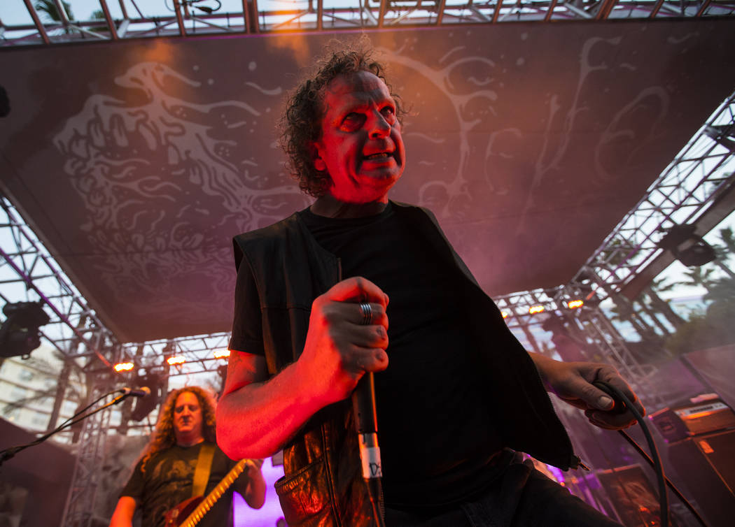Denis Belanger of Voivod performs at the pool stage during Psycho Las Vegas at the Hard Rock Hotel in Las Vegas on Saturday, Aug. 18, 2018. Chase Stevens Las Vegas Review-Journal @csstevensphoto