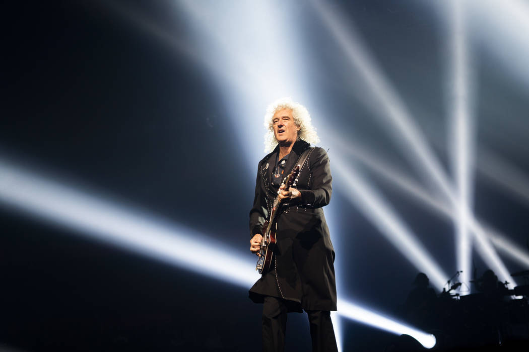 Queen guitarist Brian May performs at Park MGM theater in Las Vegas, Saturday, Sept. 1, 2018. Queen + Adam Lambert will perform 10 shows at Park Theater through September 22. (Marcus Villagran/Las ...