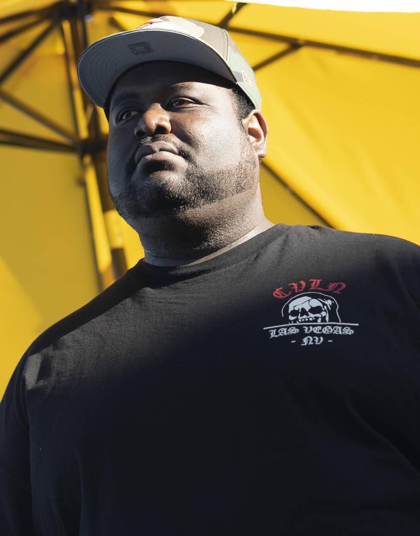 Las Vegas rapper Hassan Hamilton poses for a photograph at Fergusons Downtown in Las Vegas, Sunday, Sept. 9, 2018. (Marcus Villagran/Las Vegas Review-Journal) @marcusvillagran
