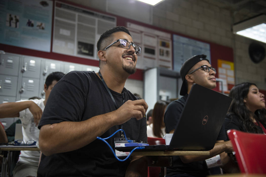 Oscar Delgado looks up at a lecturer during a session at UNLV's Make-A-Thon in Las Vegas, Saturday, Oct. 20, 2018. Caroline Brehman/Las Vegas Review-Journal @carolinebrehman