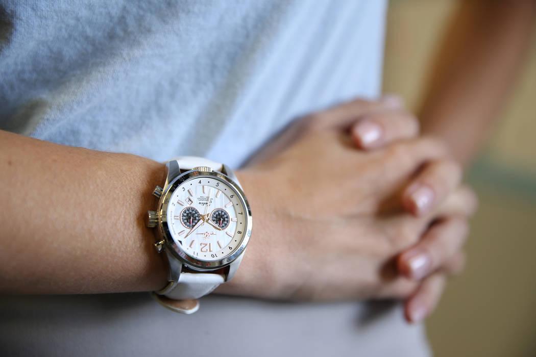 Abingdon Mullin, founder of The Abingdon Co., wears a new watch called the Julia, named for NASCAR driver Julia Landauer, at her Las Vegas office, Thursday, Oct. 25, 2018. Erik Verduzco Las Vegas ...