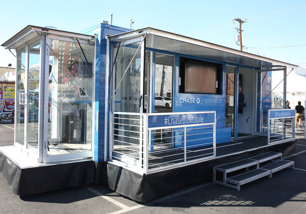 The Chase for Business BizMobile, a 27-foot advice center on wheels, is seen at Container Park Lot on Thursday, Nov. 8, 2018, in Las Vegas. Bizuayehu Tesfaye/Las Vegas Review-Journal @bizutesfaye