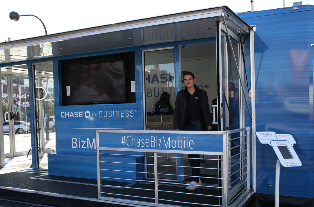 Chase Spillman, CEO of Synergy Marketing, exits the Chase for Business BizMobile, a 27-foot advice center on wheels, on Thursday, Nov. 8, 2018, in Las Vegas. Bizuayehu Tesfaye/Las Vegas Review-Jou ...