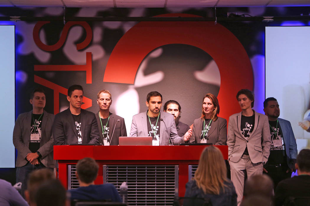 Members of the team RentShare deliver their pitch for their company at the 2018 Techstars Startup Weekend at Rob Roy's Innevation Center in Las Vegas, Sunday, Nov. 18, 2018. With the help of entre ...