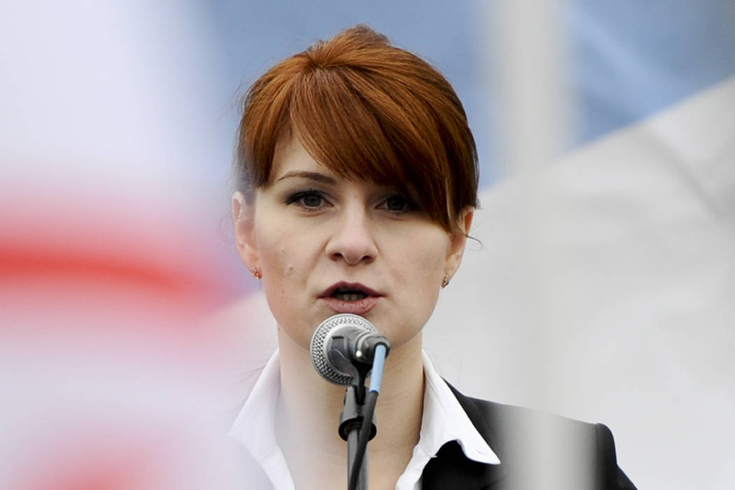 Maria Butina, leader of a pro-gun organization in Russia, speaks to a crowd during a rally in support of legalizing the possession of handguns in Moscow, April 21, 2013. Prosecutors say they have ...