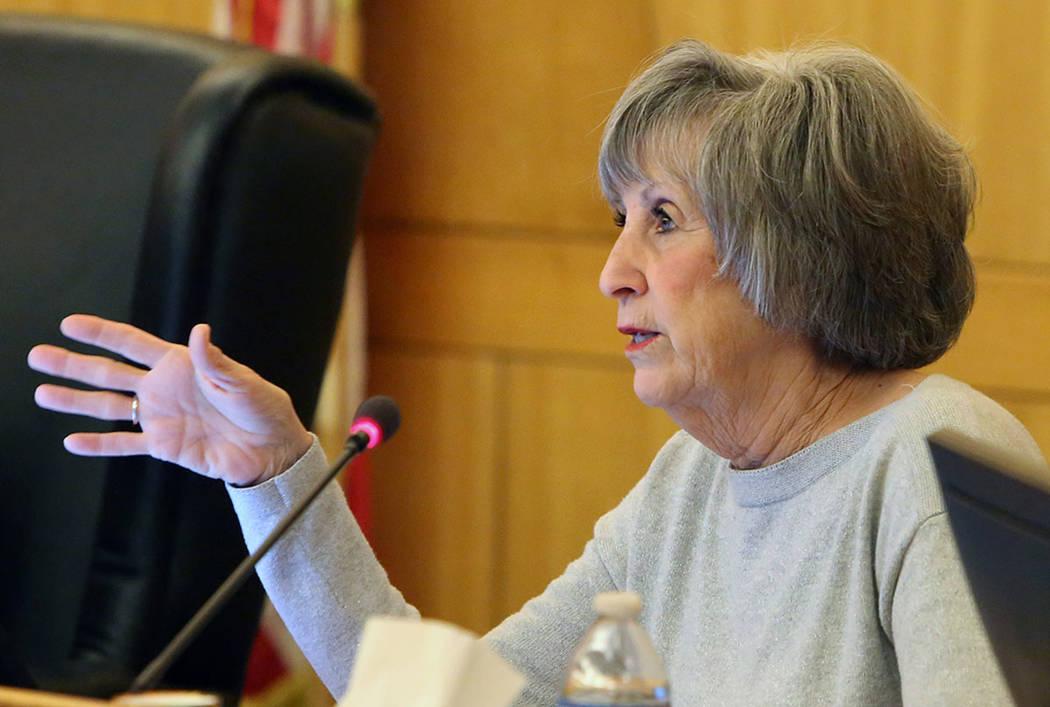 Clark County Commissioner Susan Brager speaks during a commission meeting on Tuesday, April 17, 2018, in Las Vegas. Bizuayehu Tesfaye/Las Vegas Review-Journal @bizutesfaye