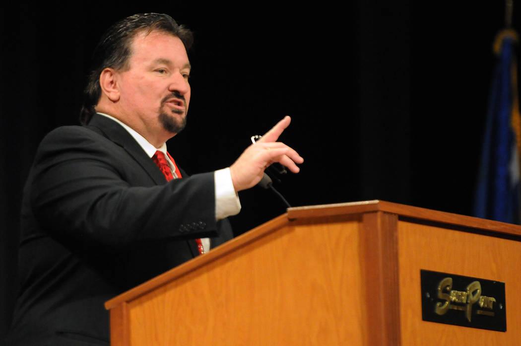 Michael McDonald speaks during the Nevada Republican Party convention at the South Point casino-hotel in Las Vegas Saturday, April 12, 2014. (Erik Verduzco/Las Vegas Review-Journal)