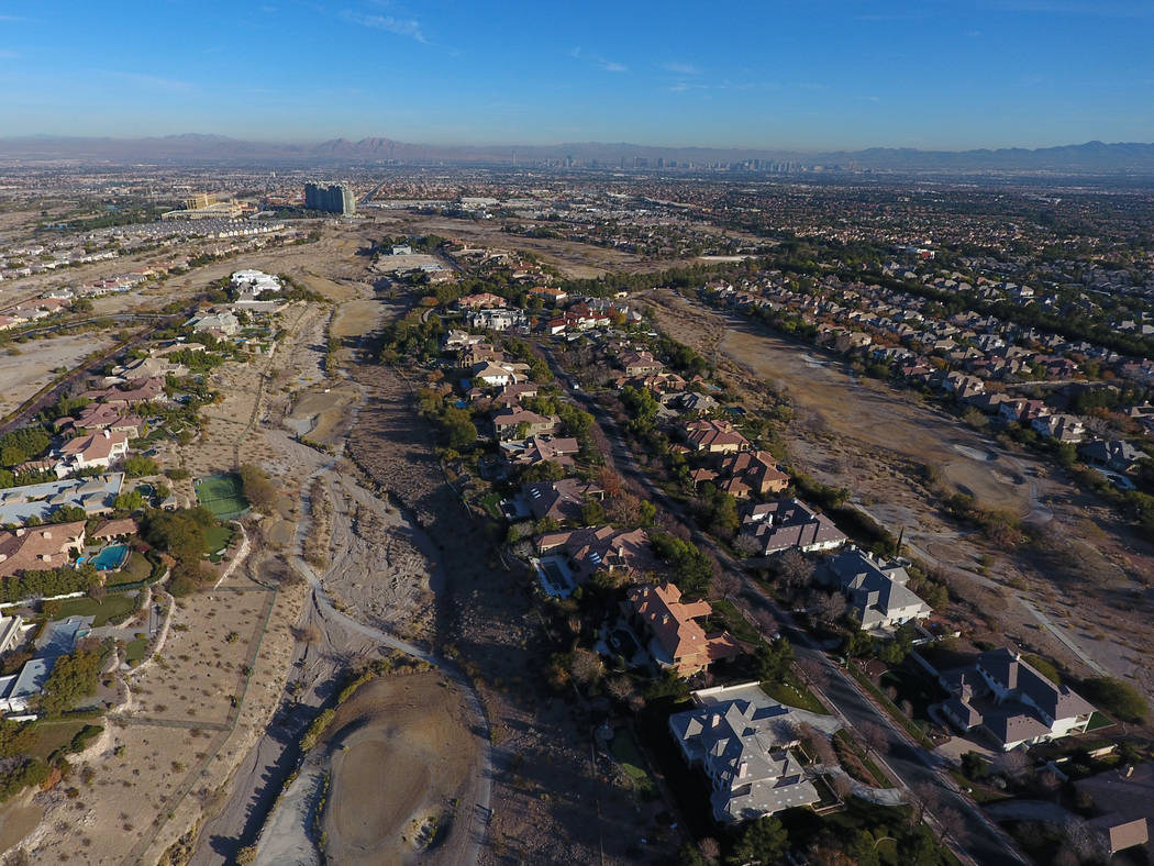 Aerial view of former Badlands golf course as seen from Hualapai Way in Summerlin on Wednesday, Dec.19, 2018. Michael Quine / Las Vegas review-Journal @Vegas88s