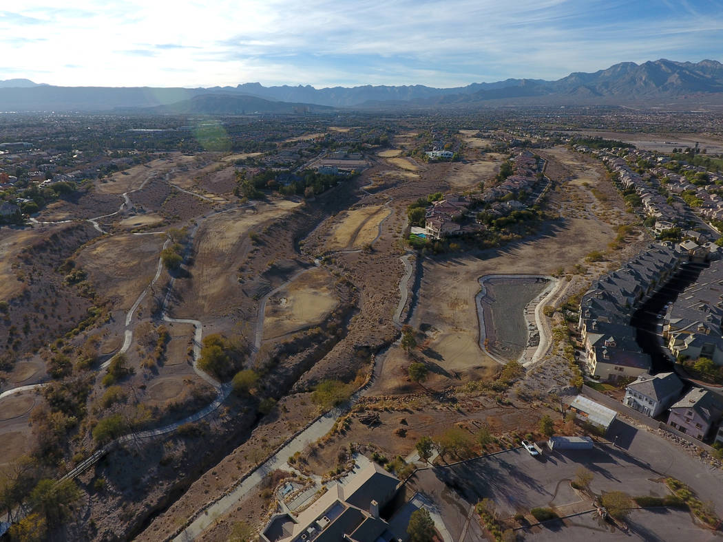 Aerial view of former Badlands golf course as seen from Alta Drive in Summerlin on Wednesday, Dec. 19, 2018. Michael Quine / Las Vegas review-Journal @Vegas88s