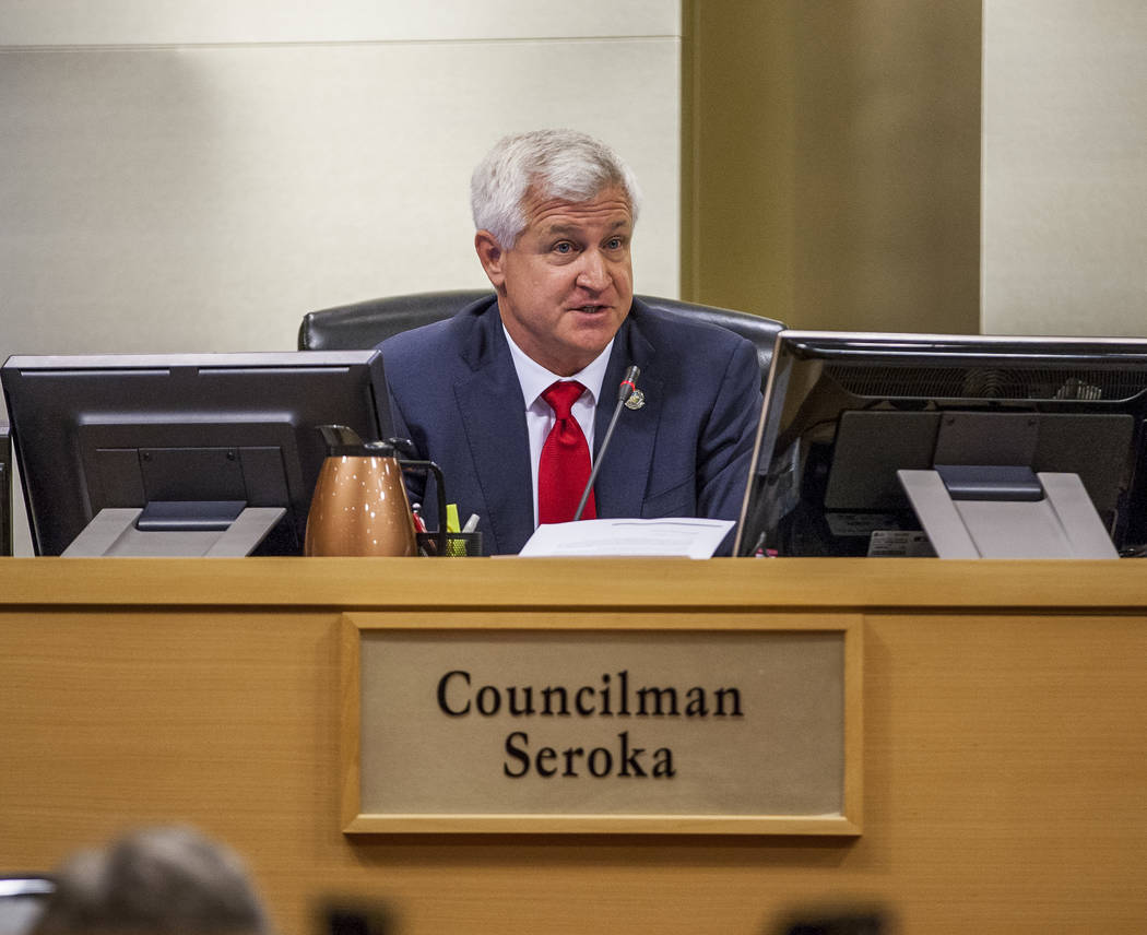Councilman Steve Seroka voices his concerns about the Badlands golf course development at a City Council meeting at Las Vegas City Hall on Wednesday, August 2, 2017. Patrick Connolly Las Vegas Re ...