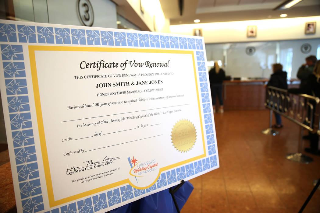 The new wedding vow renewal certificate is displayed during a press conference at the Marriage License Bureau in Las Vegas, Thursday, Jan. 3, 2019. Erik Verduzco Las Vegas Review-Journal @Erik_Ver ...