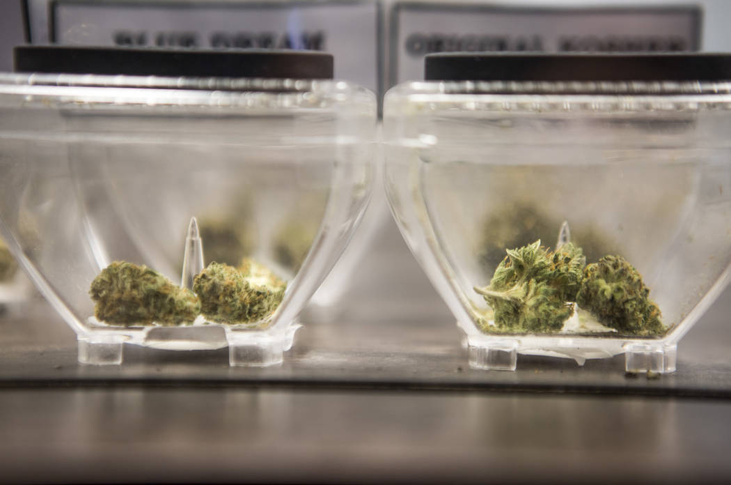 Marijuana is displayed on sale at Exhale Nevada on Friday, April 23, 2018. (Las Vegas Review-Journal)