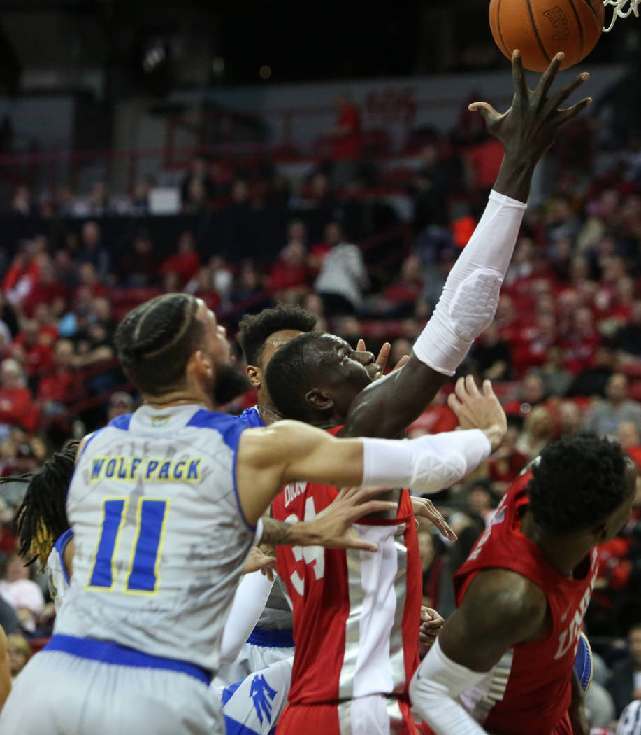 UNLV Rebels forward Cheikh Mbacke Diong (34) takes a shot during the second half of a basketball game at the Thomas & Mack Center in Las Vegas, Tuesday, Jan. 29, 2019. Caroline Brehman/Las Veg ...