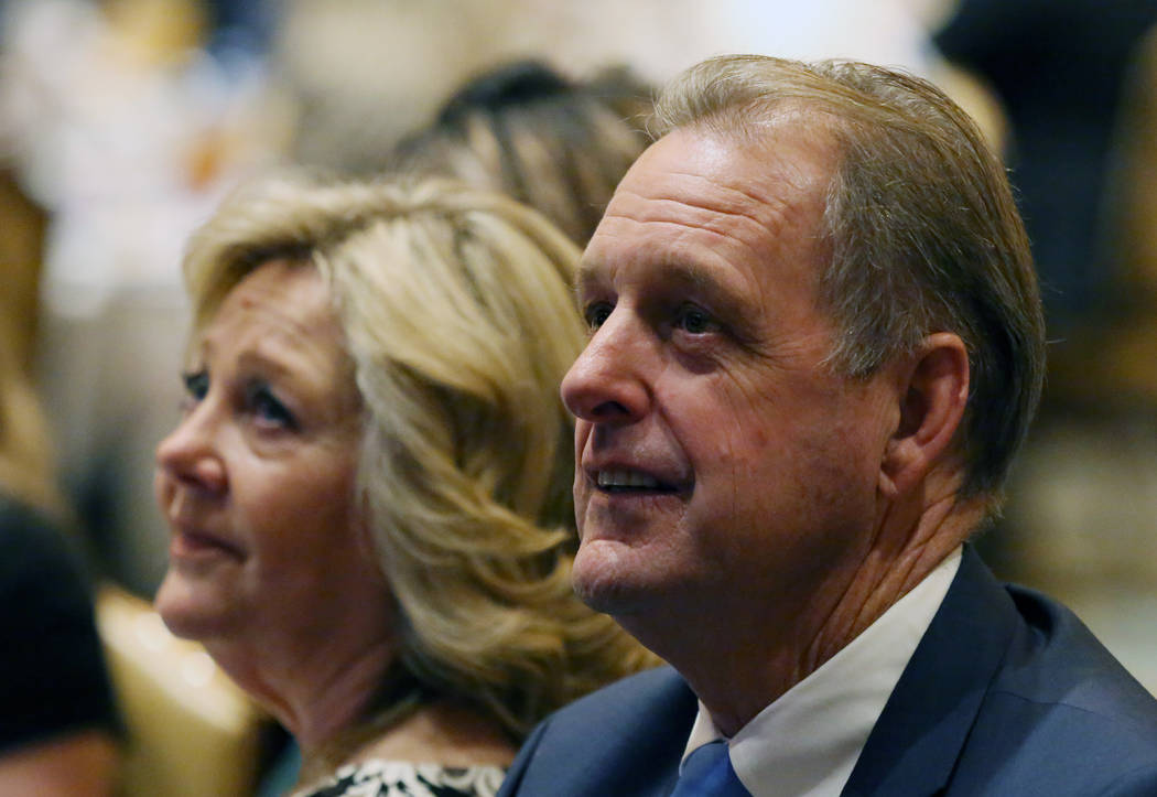 North Las Vegas Mayor John Lee, right, and his wife Marilyn listen as Lee is introduced to deliver the 23rd annual State of the City address at the Texas Station on Tuesday, Jan, 29, 2019, in Nort ...