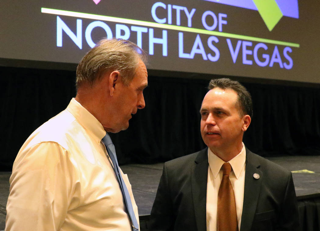 North Las Vegas Mayor John Lee, left, chats with Tom Roberts, assemblyman, District 13, after delivering the 23rd annual State of the City address at the Texas Station on Tuesday, Jan, 29, 2019, i ...