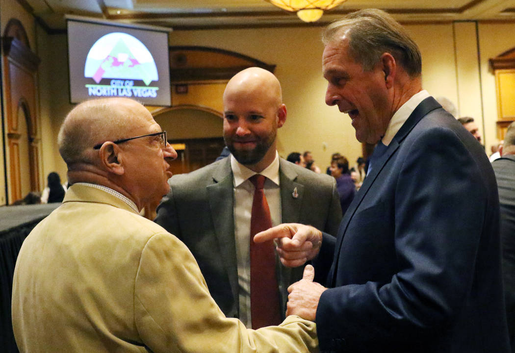 North Las Vegas Mayor John Lee, right, chats with Nevada State Sen. Joe Hardy, left, and Jonas Peterson, president and CEO at Las Vegas Global Economic Alliance, center, prior to delivering the 23 ...