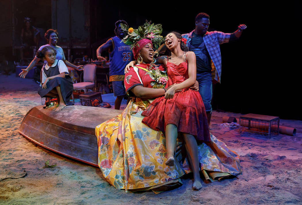 """Mia Williamson, Alex Newell, Hailey Kilgore and the cast of """"Once On This Island"""" (Joan Marcus)"""