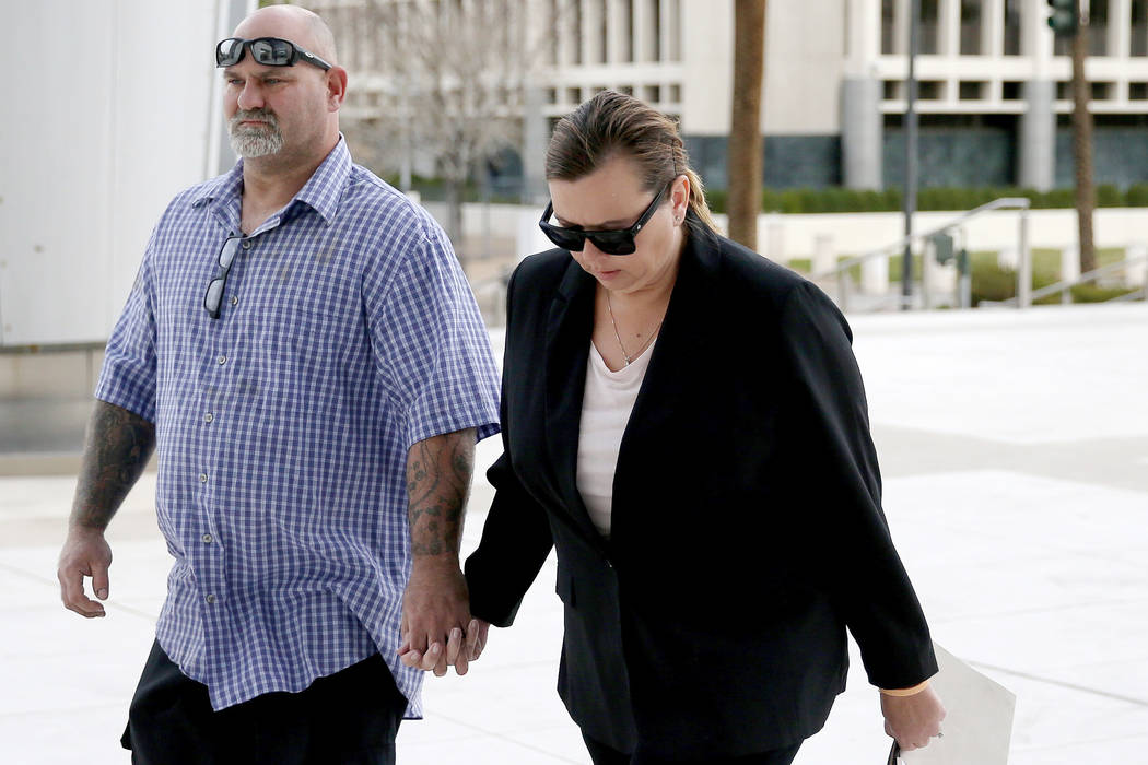 Former Las Vegas Valley Water District worker Jennifer McCain-Bray arrives at the Lloyd George U.S. Courthouse in Las Vegas Tuesday, Jan. 29, 2019, for her sentencing after pleading guilty to stea ...