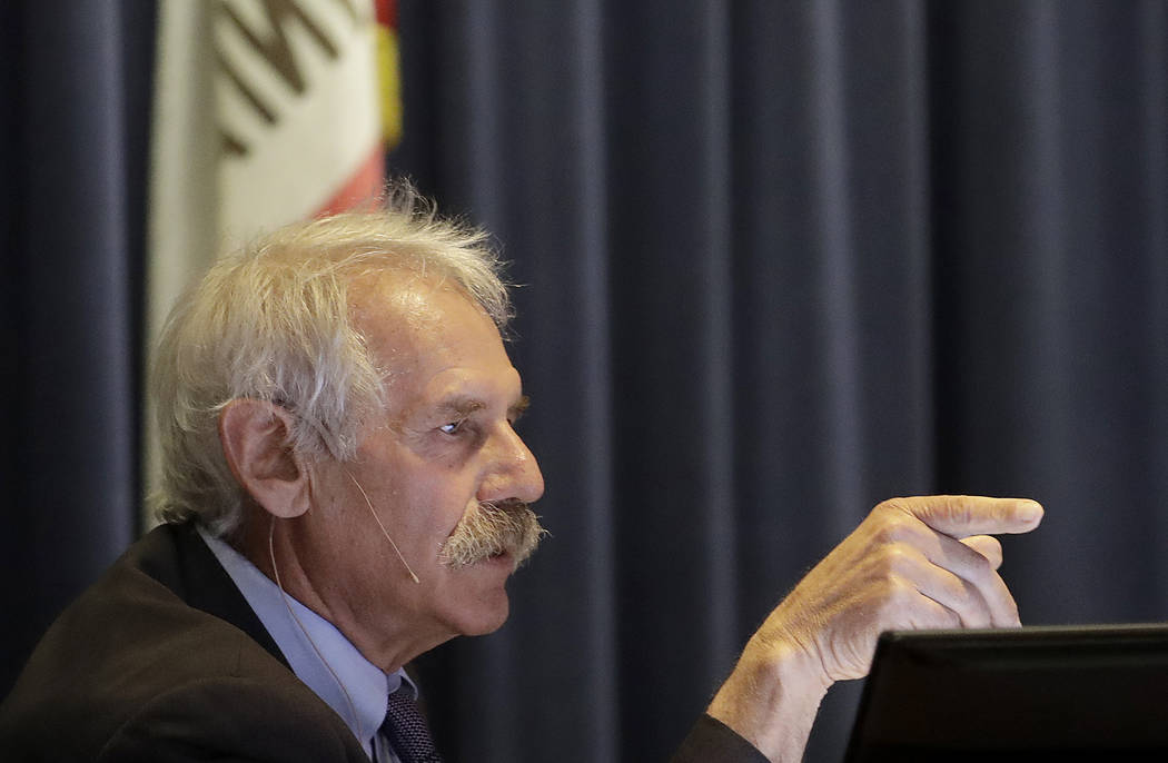 Michael Picker, President of the California Public Utilities Commission, speaks during a meeting in San Francisco, Monday, Jan. 28, 2019. California regulators have approved a measure allowing Pac ...