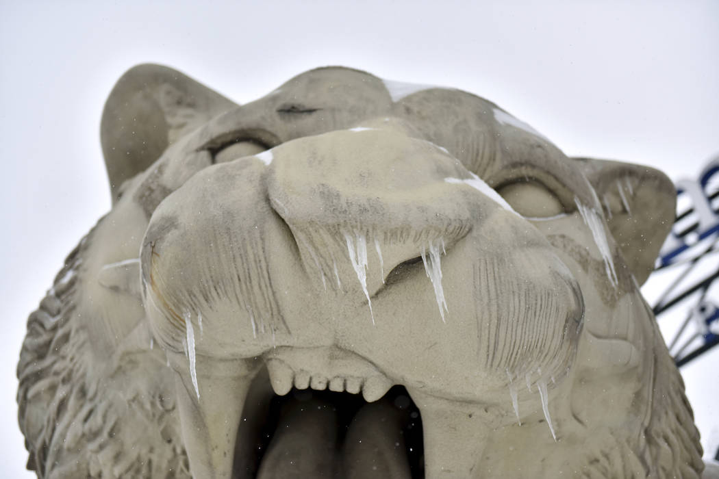 Icicles form on the Detroit Tigers statue outside of Comerica Park in downtown Detroit as a winter storm hits Michigan on Monday, Jan. 28, 2019. (Tanya Moutzalias/Ann Arbor News via AP)