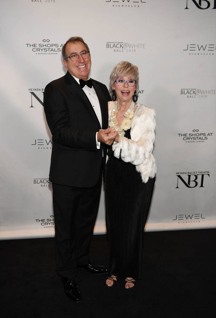 Kenny Ortega and RIta Moreno arrive at Nevada Ballet Theater's 35th Annual Black And White Ball at Aria on Jan. 26, 2019, in Las Vegas. (Denise Truscello/WireImage)