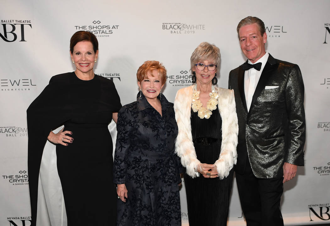 Beth Barbre, left, Nancy Houssels and Rita Moreno arrive at Nevada Ballet Theater's 35th Annual Black And White Ball at Aria on Jan. 26, 2019 in Las Vegas. (Denise Truscello/WireImage)