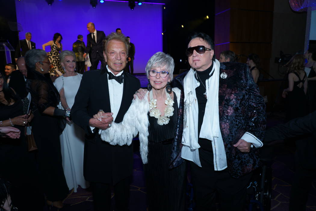Entertainment legend Rita Moreno with Siegfried & Roy after accepting her Woman of the Year award at the annual Nevada Ballet Theatre Black & White Gala at Aria in Las Vegas on Saturday, Jan. 26, ...