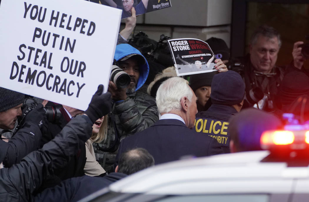 Former campaign adviser for President Donald Trump, Roger Stone, arrives at federal court, Tuesday, Jan. 29, 2019, in Washington. Stone was arrested in the special counsel's Russia investigation a ...