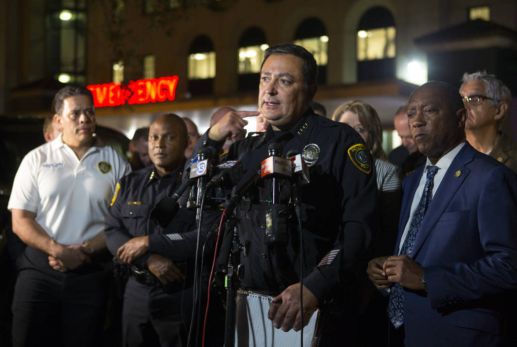 Houston Police Department Chief Art Acevedo updates the media on the conditions of officers injured during a shooting earlier in the evening, at a news conference outside of the emergency departme ...
