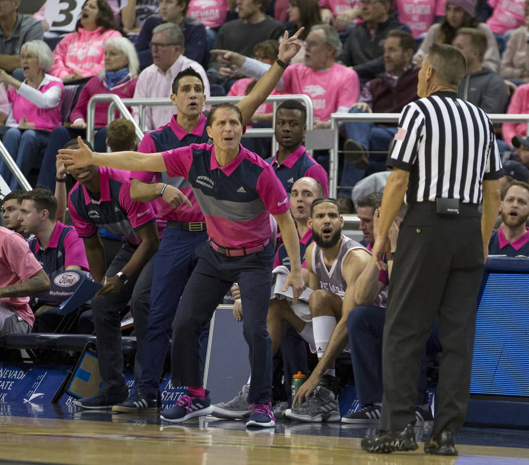 UNR head coach Eric Musselman works the sidelines against Colorado State in the first half of an NCAA college basketball game in Reno, Nev., Wednesday, Jan. 23, 2019. (AP Photo/Tom R. Smedes)