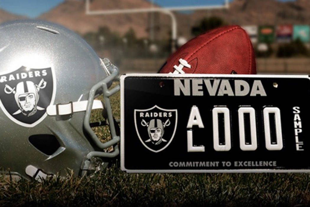 The Raiders Nevada specialty license plate will debut on roads in January 2019. Courtesy of Raiders.com.